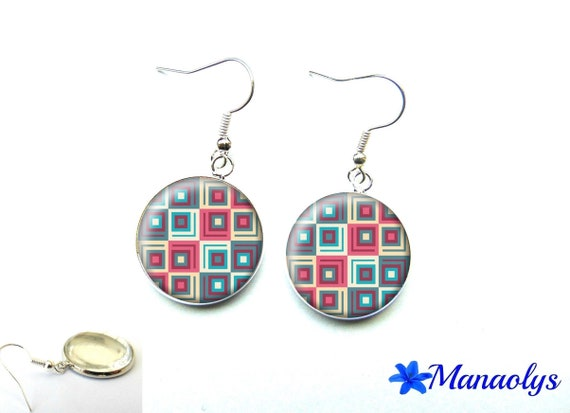 Square earrings pink and blue cabochon glass 2100