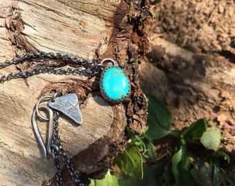 Turquoise necklace, rustic turquoise necklace, rustic jewelry, rustic silver jewelry, made in Canada, canada made, gifts for her