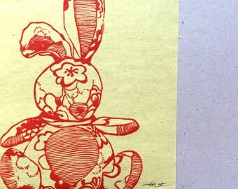 Follow me Bunny - Original Linoldruck - Offene Edition // Kunst, Druck, Linolschnitt, Druckgrafik, Bild mit Hase