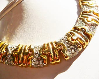 vintage unsigned faux diamond necklace clip earrings   Etruscan collar style   Byzantine stampato style chain   micro pave'   1980s choker