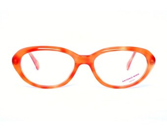 vintage orange glasses - oval eyeglasses frame for women - quality eyewear from the 80s - ugly betty frames by Antonio Miro naranja