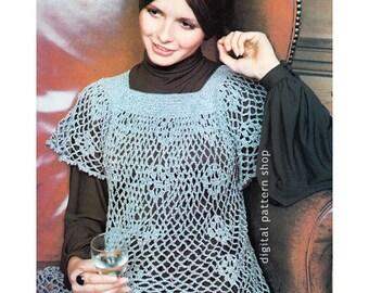 Crochet Top Pattern Lacy Smock Top Crochet Pattern Vintage Feminine Mini Dress Instant Download PDF Womens - C74