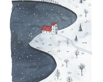 winter illustration, winter watercolor, winter landscape illustration, winter landscape watercolor, winter landscape art print