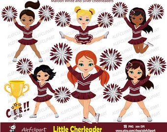 Maroon, Silver and White Cheerleader Digital Clipart Set for -Personal and Commercial Use-paper crafts,card making,scrapbooking,web design