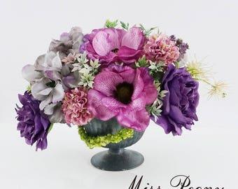 Silk Anemones Hydrangeas Peonies Greenery Mixed Floral Arrangement in Vintage Vase Purple Wedding Home Decorations