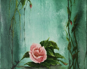 Rose Painting,  Floral Art, Original Oil/Acrylic Painting  16in x 20in