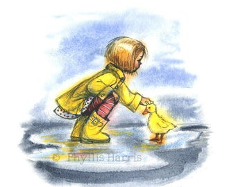 Spring Puddles and Duckling with Little Girl - Wall Art- Watercolor Painting Print