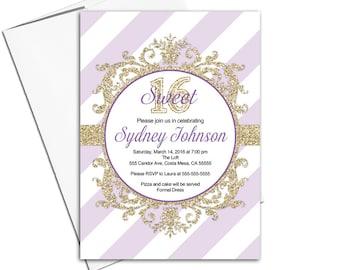 Purple Sweet 16 invitations printable   teen birthday party invite chevron   digital or printed - WLP00353