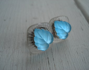 SALE Vintage Antique Lalique Inspired Frosted and Aqua Foiled Luminous Glass Cabochons Stud Pierced Earrings