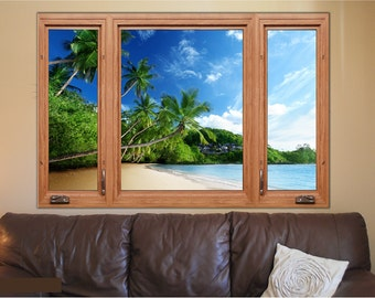 Tropical Beach 2 3D Window Wood Frame View Removable Decal Home Decor Mural Wall Vinyl