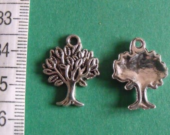 silver charm, set of 10, tree, 22mmx17mm