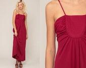 Grecian Dress 1970s Maxi Party Dress 70s Boho Dress Gathered Burgundy Dress Goddess Long Vintage Sleeveless Spaghetti Prom Extra Small xs