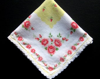 Vintage Handkerchief - Pink Roses, Spring Summer Handkerchief, Vintage Hankie, Vintage Hanky, Floral, Flowers, Rosebuds, Cotton, Collectible