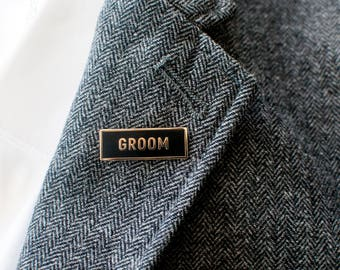 Groom Enamel Lapel Pin // black / gold / cloisonne pin / bride and groom pins / shower gift / bachelor party gift / wedding gift