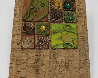 Art Journal Notebook, Forest, Mosaic Tiles with Vintage Glass Cabochons, Natural Cork Cover, Blank Book