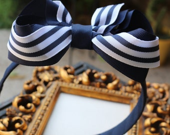 Navy and White Bow Headband - Navy and White Boutique Bow- Double Layer Bow - School Uniform Bow - Girls Bow