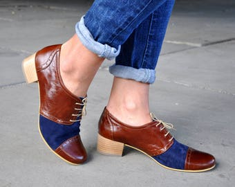 Moor - Oxford Pumps, Womens Oxfords, Mod Shoes, Brown Blue shoes, Retro pumps, Heeled Oxfords, Vintage 60s Shoes, FREE customization!!!
