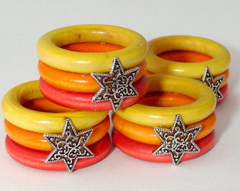 Star of David Napkin Rings - Multi-colored - Set of Six