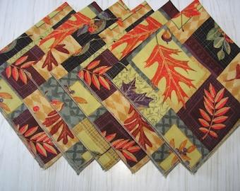 Autumn Cloth Napkins Boxed Leaves Lunch Dinner Dessert Set of 6