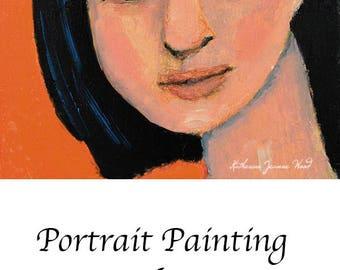 Orange Miniature Apartment Size Art. Oil Painting Panel. Woman Portrait Original Painting. Fine Art. Home Wall Art. Get Real