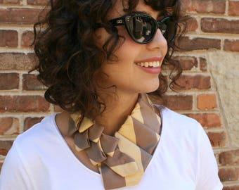 Womens Necktie - Ascot - Work Wear - Silk Necklace - Memorial Necklace - Striped Scarf - Silk Scarf - Caramel and Gold Silk Lauren Scarf. 04