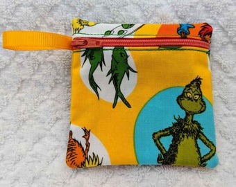 Handmade - Dr. Seuss -  fabric Gift Card Holder - coin pouch