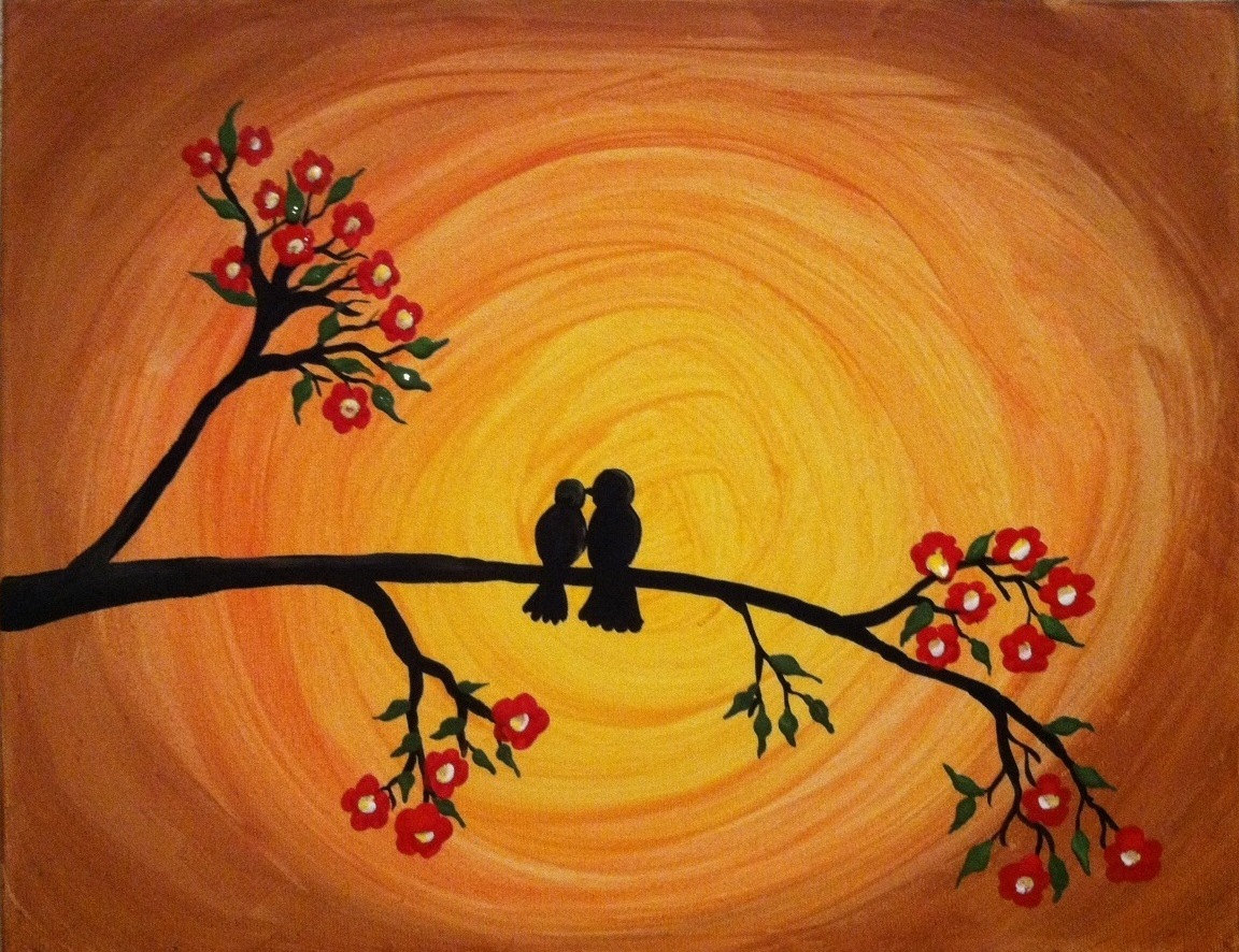 Together 4ever...Bird silhouette painting in the colorful