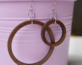 Wood Circle Earrings, Minimalist Dangle Earrings