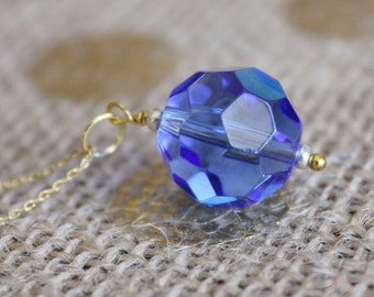 Blue Glass Bead Pendant 14k Gold Necklace   Cerulean Blue, Silver, & Gold Pendant Necklace