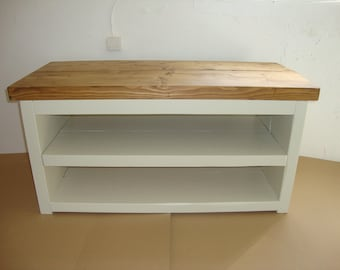 Chunky rustic reclaimed timber TV unit painted