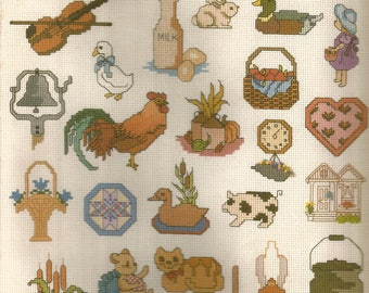 Mini Motif Designs, Country Decor, Cross Stitch Patterns, Vintage 1984, Sewing Patterns, Sewing Supplies, Leaflet, Small Patterns, Gift Idea