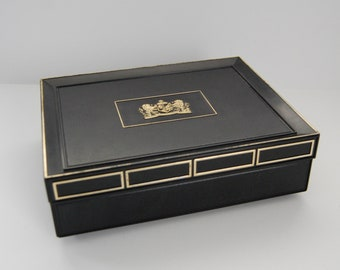 Vintage Cigar Box, Plastic Mark IV Magnates Imported Candela Wrapper Black Cigar Box, House of Windsor