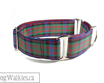 """MacDonald Clan Tartan Dog Collar // 1.5"""" (38mm) wide // Side Release or Martingale Collar // Choice of collar style and size // Red Plaid"""