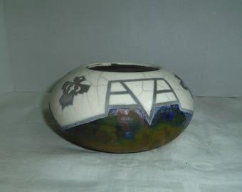 Raku Pottery Bowl by Len Hughes with Thunderbird, Arizona Southwest Motif '97 Len Hughes signed