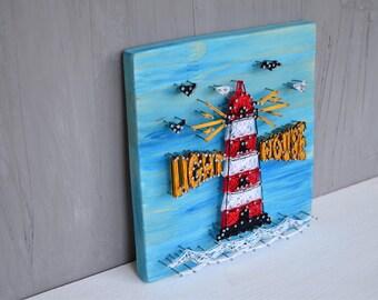 Lighthouse String art Wall art wood Home decor lighthouse wall decor String Wall Art