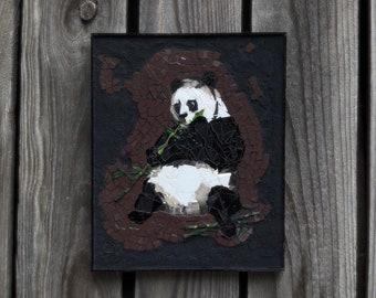 Panda eating bamboo - stained glass mosaic wall art, ooak