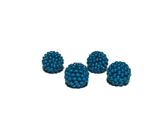 Pacific Blue beaded beads handmade 12mm beads 4pcs