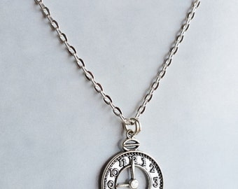 Clock Necklace - Time piece Silver tone charm