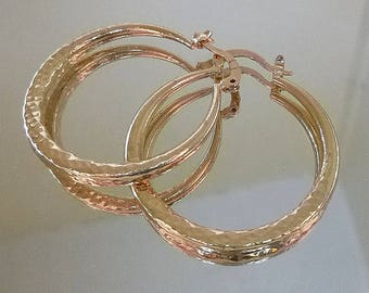 Huge 14 kt yellow gold fill hammered  hoop earrings