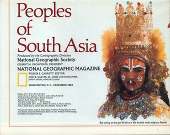 Peoples of South Asia, National Geographic Map, 1984, good shape