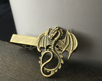 Groomsmen Tie Clip or Gift Ideas for Dad - Dragon Tie Clip - Mens Stocking Stuffer - Tie Clips Men- Geek Groomsmen Gift