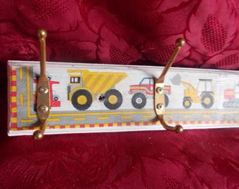 big truckers digger dumper boys coat rack hooks