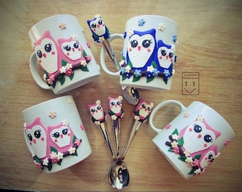 Decorated Tea Cups - Owls