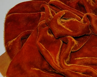 Velvet, hand-dyed silk-backed rayon velvet, Medium Gold