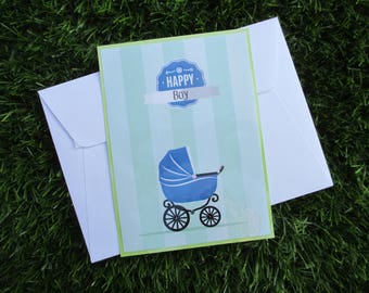 Card made to compliment baby boy or baby shower