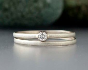 Diamond and Gold Wedding Ring Set - 2.5mm Diamond Engagement Ring and Matching Band in solid 14k white or yellow gold