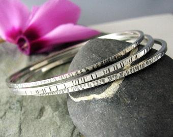 Sterling Silver Bangle Bracelets Set of 3 - Silver Bangle set - Textured Sterling Bangle set - Size Large Medium or Small - hammered bangles