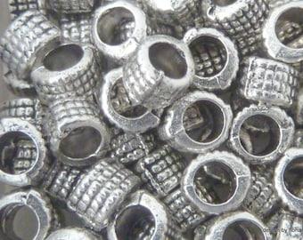 Set of 12 beads 5 mm Tibetan silver striped
