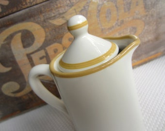 Vintage Teapot Tall Ceramic White with Mustard Trim