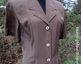 Vintage MIDI Dress, Brown white, POLKA DOTS Duster Dress, Rayon button-down dress, Retro Feminine 1940s, Grunge Boho, cute buttons! pockets!